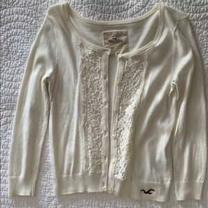 Hollister cream lace detailed cardigan